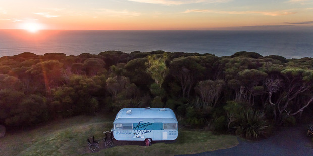 We stayed in one of Awesome Walks' retro caravans. Photo / Supplied