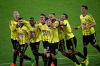 Wellington Phoenix players celebrate the goal scored by Matthew Ridenton during the Hyundai A-League, Wellington Phoenix v Newcastle Jets. Photo / Photosport.co.nz