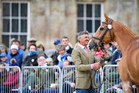 Andrew Nicholson, (NZL) with Nereo during the First Horse Inspection at the 2017 Mitsubishi Motors Badminton Horse Trials. Wednesday 3 May. Copyright Photo: Stephen Bartholomew / Libby Law Photograp