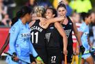 Rachel McCann celebrates her goal with Jordan Grant during Black Sticks Women vs India. Photo / Photosport