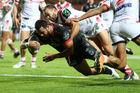 Warriors Ben Matulino scores the opening try in his 200th NRL match. Photo / Photosport.co.nz