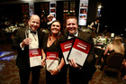 NZME Managing Editor Shayne Currie, Weekend and Herald on Sunday Editor Miriyana Alexander and New Zealand Herald Editor Murray Kirkness at the Canon Media Awards 2017. Photo / Nick Reed