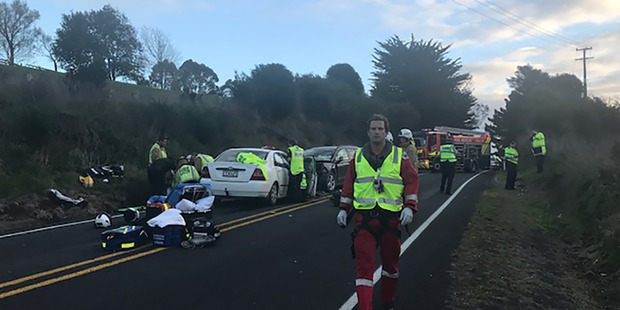 Emergency services at the scene of the fatal crash. Photo/Auckland Rescue Helicopter Trust