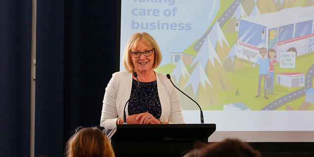 Minister for Small Business Jacqui Dean speaking at Whanganui War Memorial Hall. Photo/ Bevan Conley