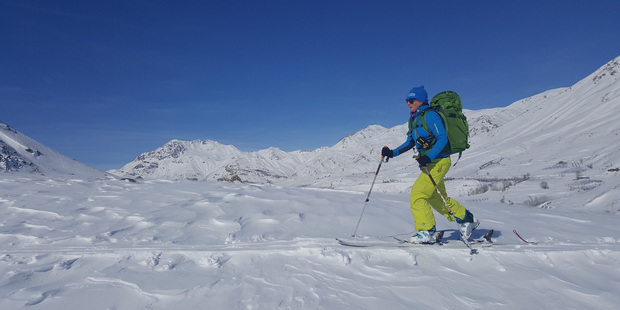Jude ski touring on the border of Iraqi Kurdistan and Iran. Photo/ Untamed Boarders