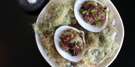 The Cloudy Bay clams, basil and forage seaweed. Photo / Getty Images
