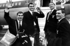 The 1976 All Blacks arrive in London at the start of the 1967 tour of Britain and France. From left: Colin Meads, Ken Gray, Kel Tremain and Brian Lochore. Photo / Photosport
