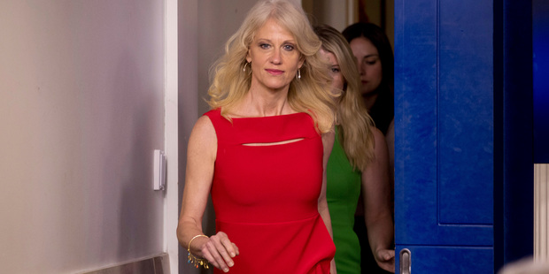 Counselor to the President Kellyanne Conway arrives for the daily press briefing at the White House. Photo / AP