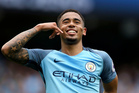 Manchester City's Gabriel Jesus celebrates scoring his side's second goal of the game, during the English Premier League soccer match between Manchester City and Leicester. Photo / AP
