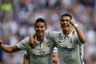 Real Madrid's Cristiano Ronaldo, right, celebrates with teammate James Rodriguez. Photo / AP