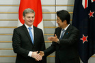 New Zealand's Prime Minister Bill English meets Japan's Prime Minister Shinzo Abe. Photo / AP