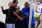Family member Martin Archie, left, comforts Ruby Archie, after learning that Kingston Frazier, 6, was found dead. Photo / AP
