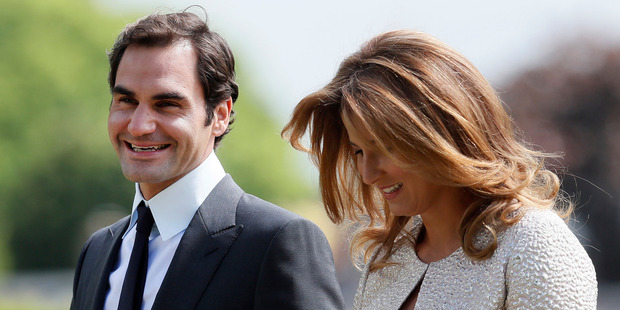 Tennis player Roger Federer and his wife Mirka arrive at St Mark's Church in Englefield, England, ahead of the wedding of Pippa Middleton and James Matthews. Photo / AP