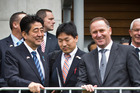Japan's Prime Minister Shinzo Abe (left) with former PM John Key on a 2014 visit to New Zealand. PM Bill English travels to Japan this week for his first meeting with Abe as PM. Photo / Greg Bowker