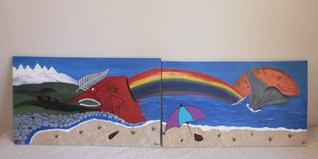 Hayden Pouter created this painting while in prison. Supplied photograph