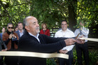 Maori Party co-leader Te Ururoa Flavell takes an early lead in the ribbon-cutting event of Campaign Iron Man. Photo / Andrew Warner