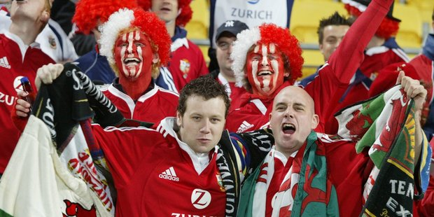 British and Irish Lions fans at Westpac Stadium, Wellington in 2005. Tickets for the 2017 Lions tour are being onsold online. Photo/NZHerald