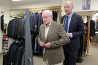 David Hildreth (left) has been shopping at Thomson's Suits since it was founded by Angus Thomson's (right) grandfather Mick 60 years ago this month. Photo/Duncan Brown