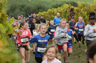 Participants in the Kids' Run at the Air New Zealand Hawke's Bay International Marathon. Visitors for the event were treated to a sunny Hawke's Bay day yesterday. Photo/Duncan Brown