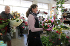 Ritchie Davies, Tanya Koens, owners, Flowers by Tanya, a florist in Hastings, story about busy retailers on Mother's Day. Photo / Duncan Brown