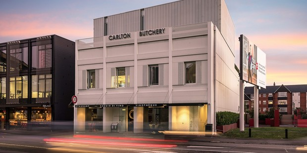 The ground and first floors are for sale in the four-level Carlton Butchery building at 179 Victoria St, Christchurch. Photo / Supplied