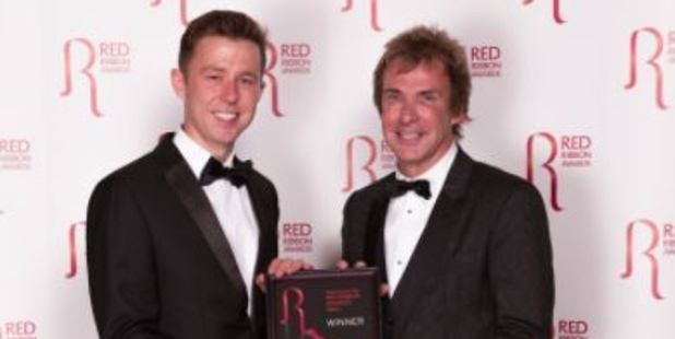 Charlie Mullins, left, after winning this year's Family Business Awards. Photo / Twitter