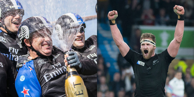 Emirates Team New Zealand and the All Blacks will be battling it out for the attention of the NZ public. Photos / Supplied and Brett Phibbs
