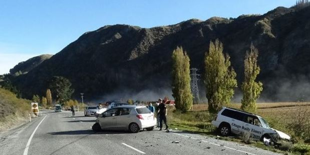 A rental car and Allied Press' Subaru Forester collided at Gibbston on May 7. Photo / Mountain Scene