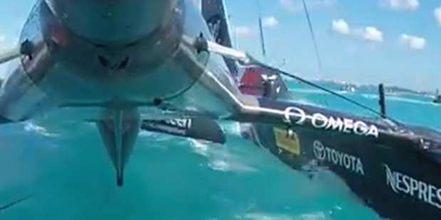 Loading Team BAR crashed into the back of Team New Zealand this morning. Photo / YouTube - ETNZ
