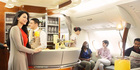 Business Class cabin of an Emirates A380.