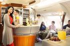 Business Class cabin of an Emirates A380.