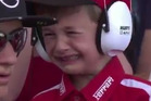 A young Ferrari fan reacts to driver Kimi Raikkonen crashing out of the Spanish Grand Prix. Photo / Twitter