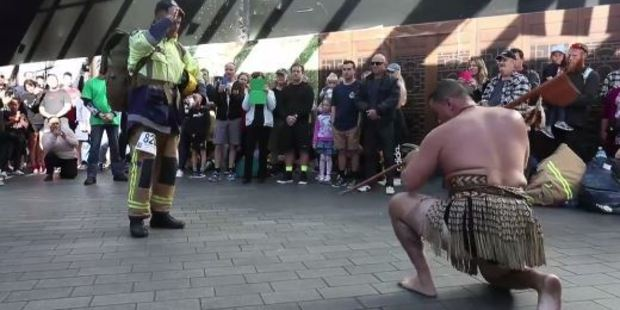 Maaka was welcomed to the Sky Tower with a haka in his honour. Photo / Dean Purcell