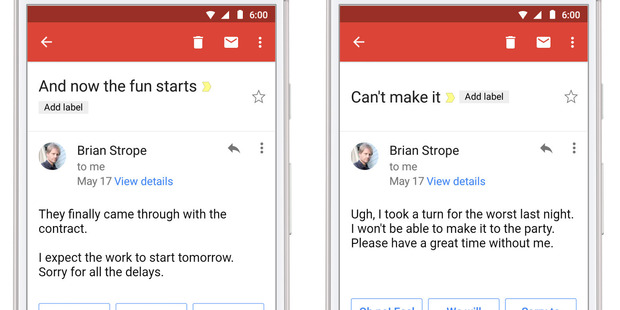 Gmail users can use the Smart Reply feature on smartphones from this week. Photo / Google