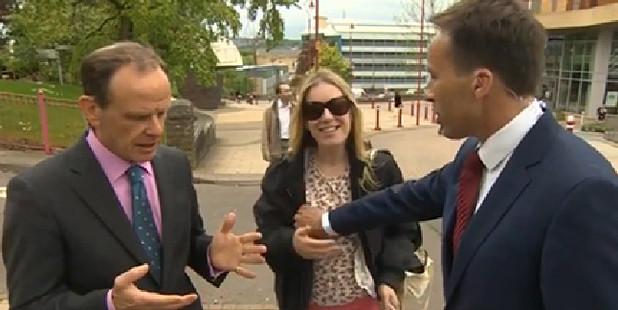 BBC presenter Ben Brown's unfortunate brush with an interview crasher.