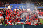 Saracens players celebrate following their European Champions Cup final victory over Clermont at Murrayfield, Edinburgh this morning (NZT). Photo / Photosport.