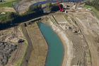 Work is under way on the new bridge across the Karamu Stream.  PHOTO/ abovehawkesbay