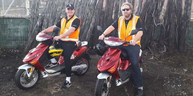 Ryan Toki (left) and William Peterson are stoked with the scooters they'll be riding for charity. Photo / Supplied