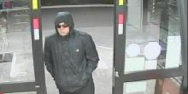 Security footage shows a man who held up a Palmerston North petrol station with a knife on Monday night. Photo / Police