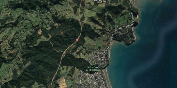 Cordons are in place at the crash site on Waiwera Hill. Police have asked motorists to take an alternative route to avoid the crash. Image / Google
