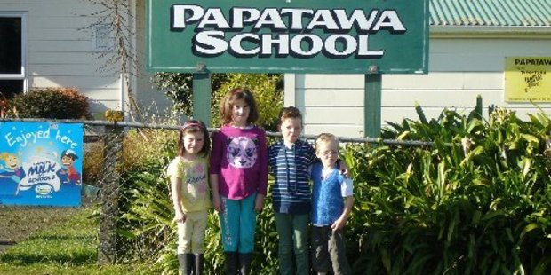 Present day pupils, Eve and Sophie Sowry, and William and Duncan Cunningham, are descendants of pupils who attended Papatawa School in the late 1800s.