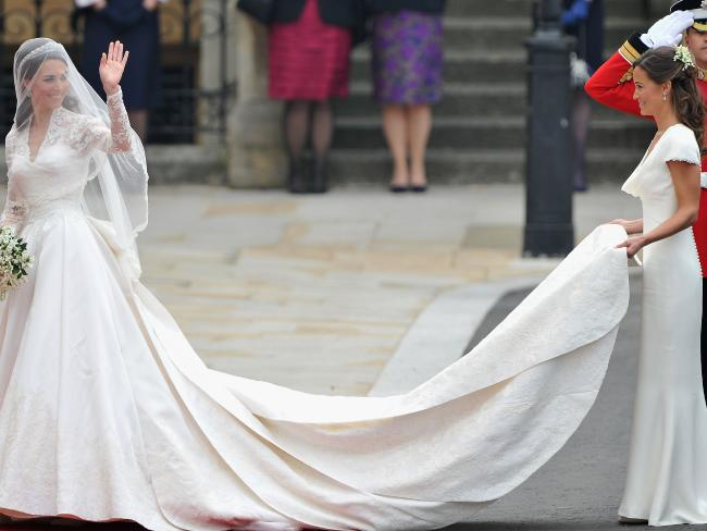 Pippa Middleton acting as maid of honour at her sister Kate Middleton's 2011 royal wedding. Photo/Getty Images