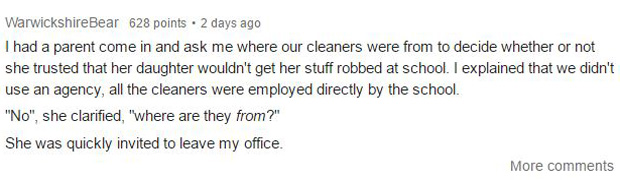 A parent with seemingly racist believes demanded to know where the school cleaners come from. Photo / Reddit