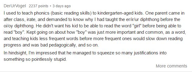 A father bizarrely objected to his child being taught to read the word 'girl' ahead of 'boy'. Photo / Reddit