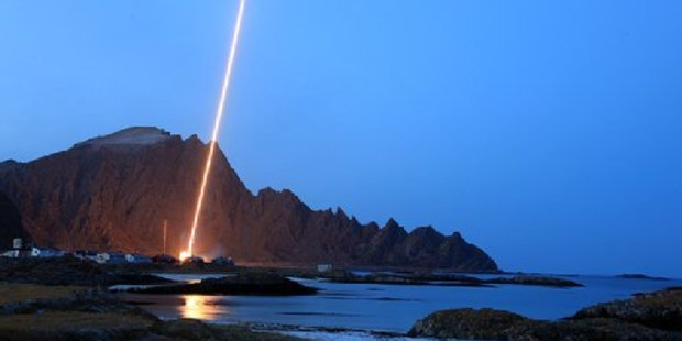 A rocket launches from the Andøya Space Centre.