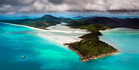 The famous Hill Inlet on Whitsunday Island and the silica sands of Whitehaven Beach. Photo / Getty Images