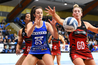 Mystics player Bailey Mes and Tactix player Zoe Walker. Photo / Photosport
