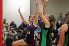 All In Elusive goal keep Sonee-Lee Waerea (left) keeps Otane shooter Ashlee Wilson in check during the Super 8 shield final netball match at Woodford House gym last night. PHOTO/Warren Buckland