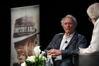Director Clint Eastwood talking to film critic Kenneth Turan at Cannes Film Festival. Photo / AP