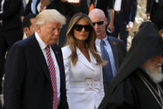 US President Donald Trump and first lady Melania Trump make their way to the Church of the Holy Sepulchre in Jerusalem's Old City. Photo / AP